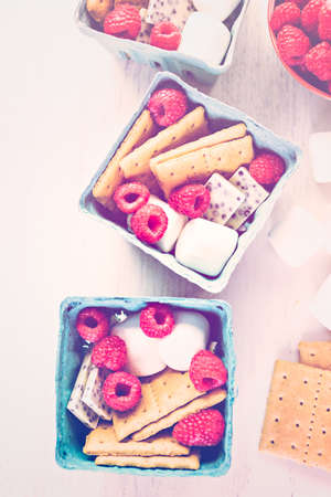 Smores with white chocolate and fresh raspberries. Imagens