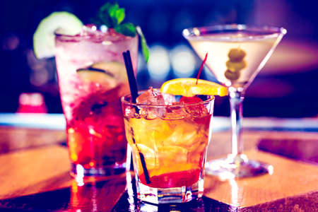Colorful cocktails on the bar table in restaurant. Stock Photo - 47576839