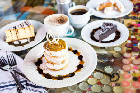 baileys: Fresh Italian Dulce de Leche with coffee on the table. Stock Photo