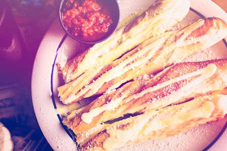 Fresh garlic bread in Italian restaurant.
