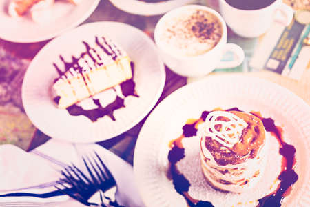 baileys: Fresh Italian Dulce de Leche with coffee on the table. Stock Photo