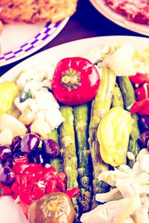 ethnic mix: Appetizers plate with vegetarian antipasto in Italian restaurant.