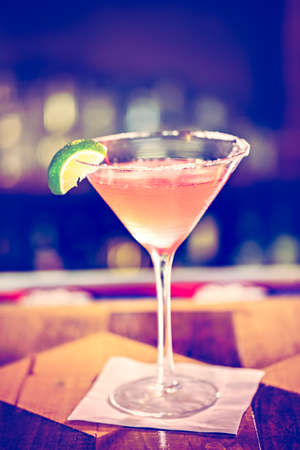 cosmopolitan: Cosmopolitan cocktail prepared at the bar. Stock Photo