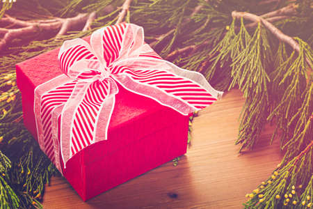 christmas present box: Christmas present in red box on wood table with live evergreen branches.