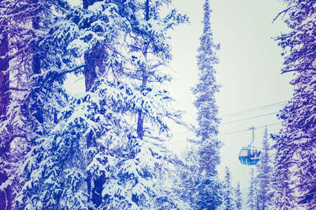 keystone: Ski resort at the end of the season after the snow storm in Colorado. Stock Photo
