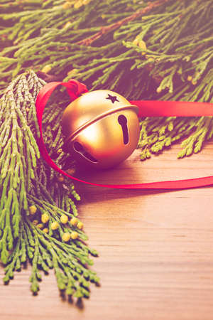 jingle bell: Golden jingle bell with red ribbon on wood table.