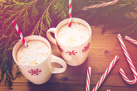 cane: Hot chocolate garnished with home made marshmallows. Stock Photo