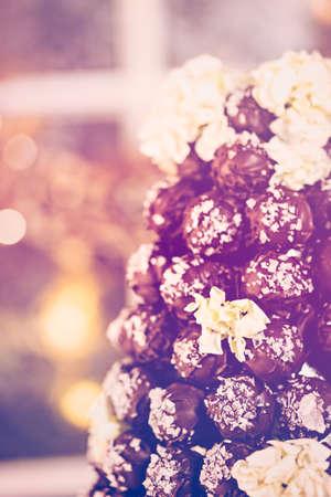 cone cake cone: Gourmet truffle cone wedding cake at wedding reception. Stock Photo