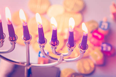 candelabrum: A still life composed of elements of the Jewish ChanukahHanukkah festival.