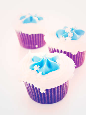 Gourmet chocolate cupcakes with white and blue icing.