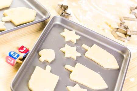 khanukah: Baking sugar cookies for Hanukkah.