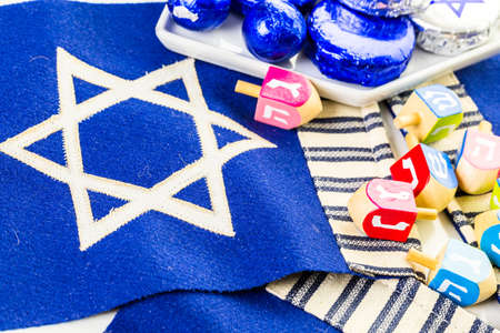 Stitched Star of David on blue banner flag.