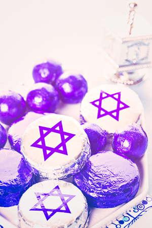 khanukah: Chocolates with Star of David for Hanukkah.