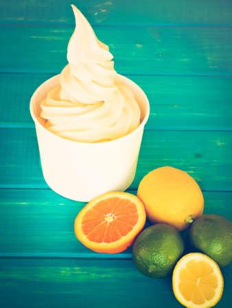 tropica: Cup of tropical frozen yogurt with fresh fruit.