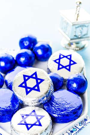 hebrew alphabet: Chocolates with Star of David for Hanukkah.