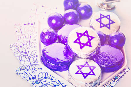 Chocolates with Star of David for Hanukkah.