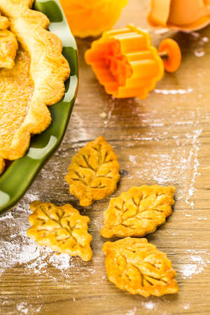 stamped: Homemade pumpkin pies with Autumn stamped leafs.