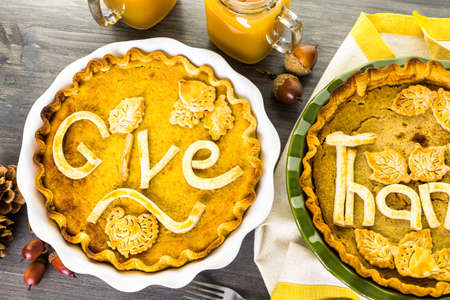 homemade: Homemade pumpkin pies with Autumn stamped leafs.
