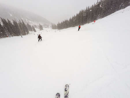 '5 december': Loveland Basin, Colorado, USA-December 5, 2015. Typical winter day of alpine skiing at Loveland Basin ski area.