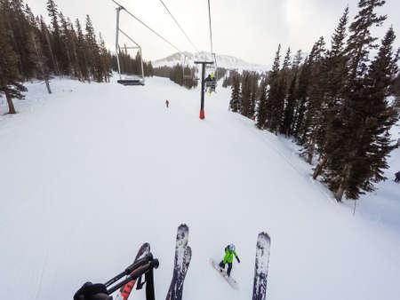 eisenhower: Loveland Basin, Colorado, USA-December 5, 2015. Typical winter day of alpine skiing at Loveland Basin ski area.
