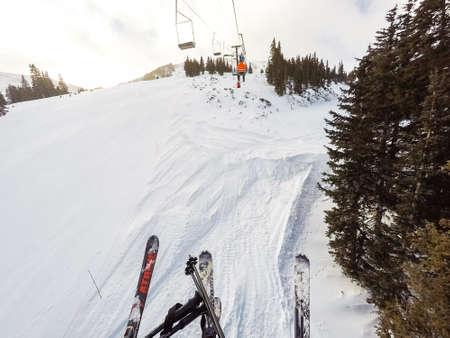 alpine skiing: Loveland Basin, Colorado, USA-December 5, 2015. Typical winter day of alpine skiing at Loveland Basin ski area.