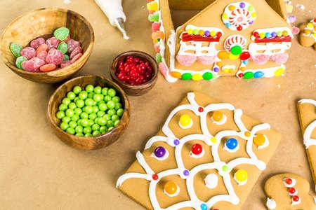 christmas house: Building gingerbread house for Christmas. Stock Photo