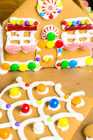 gingerbread house: Building gingerbread house for Christmas. Stock Photo