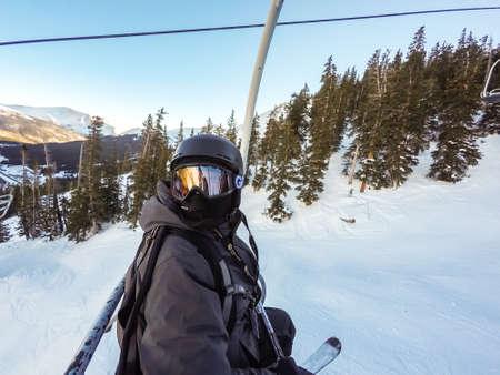 alpine skiing: Loveland Basin, Colorado, USA-January 3, 2016. Alpine skiing at Loveland Basin ski resort in Colorado.