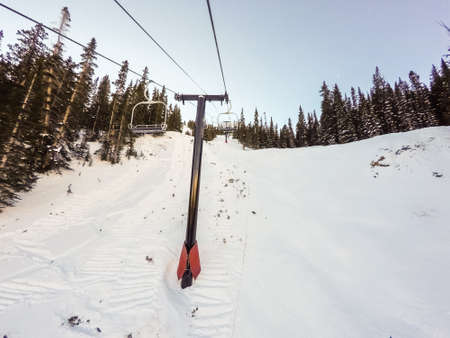 eisenhower: Alpine skiing at Loveland Basin ski resort in Colorado. Stock Photo
