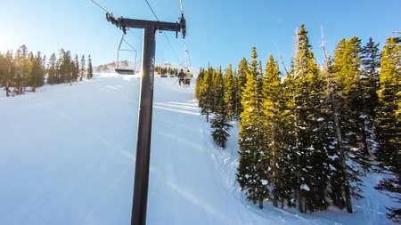 alpine skiing: Alpine skiing at Loveland Basin ski resort in Colorado. Stock Photo