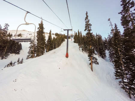 continental united states: Alpine skiing at Loveland Basin ski resort in Colorado. Stock Photo