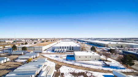 industrial park: Denver, Colorado, USA-January 10, 2016. Aerial view of industrial park in the winter. Editorial