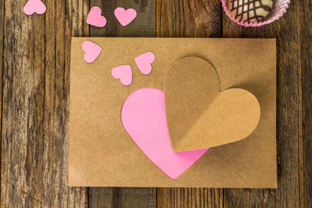 Hand crafted Valentines Day card from recycled paper.