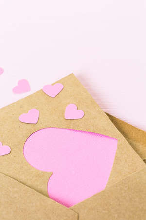 recycled paper: Hand crafted Valentines Day card from recycled paper.