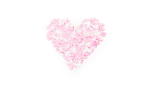 mode made: Heart made of small pink and whites paper heart. Stock Photo