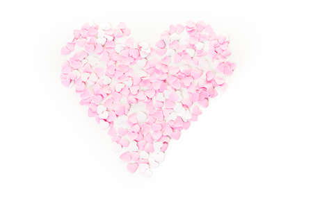 nad made: Heart made of small pink and whites paper heart. Stock Photo