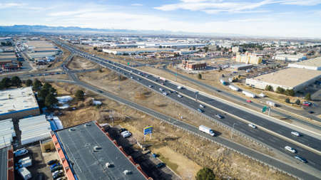 off ramp: Denver, Colorado, USA-January 23, 2016. Aerial view of Highway 70 exit ramp.