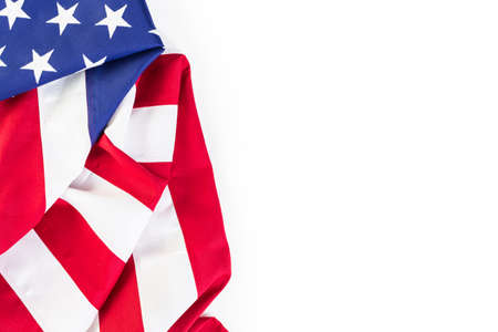 goverment: Large American Flag on a white background. Stock Photo