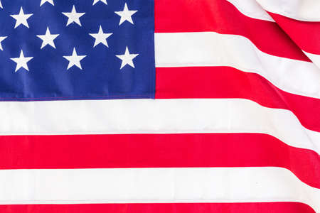 anthem: Large American Flag on a white background. Stock Photo