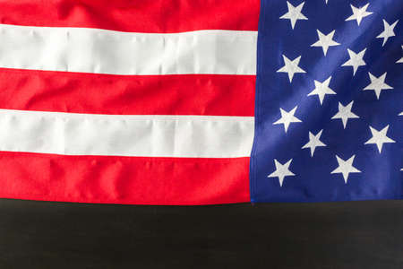 anthem: Large American Flag on the table. Stock Photo