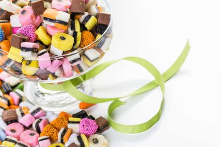 multicolored: Multicolored mini licurice on a white background.