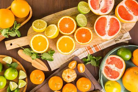 Variety of citrus fruit including lemons, lines, grapefruits and oranges.