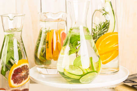 Detox citrus infused water as a refreshing summer drink. Stock Photo