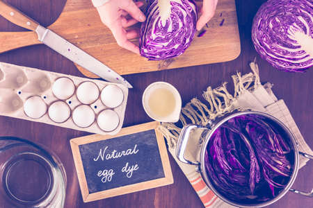 to dye: Dyeing Easter eggs with natural dye colors.