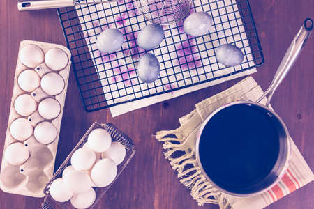 Dyeing Easter eggs with natural dye colors.