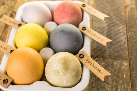 pasch: Easter eggs painted with natural egg dye from fruits and vegetables. Stock Photo