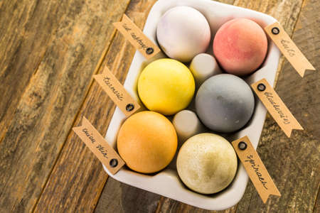 coloring easter egg: Easter eggs painted with natural egg dye from fruits and vegetables. Stock Photo