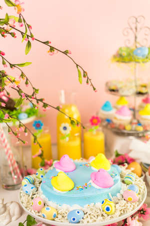 oj: Denver, Colorado, USA-March 16, 2016. Dessert table with Easter cake decorated with traditional Easter Peeps.