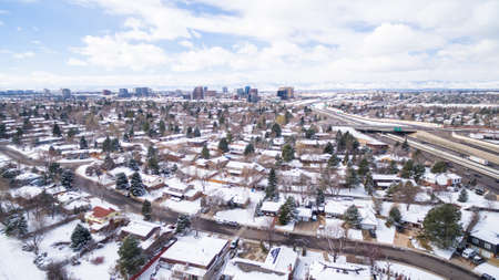 signle family: Aerial view of Cherry Creek State Park in the Winter. Stock Photo