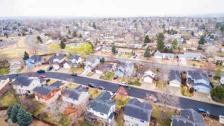 residential neighborhood: Aerial view of residential neighborhood at the beginning of snow storm.